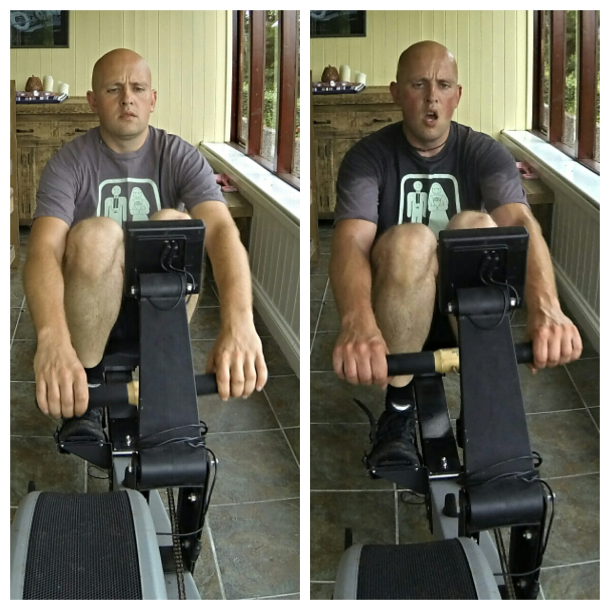Before and after rowing for 30 minutes in a warm room.