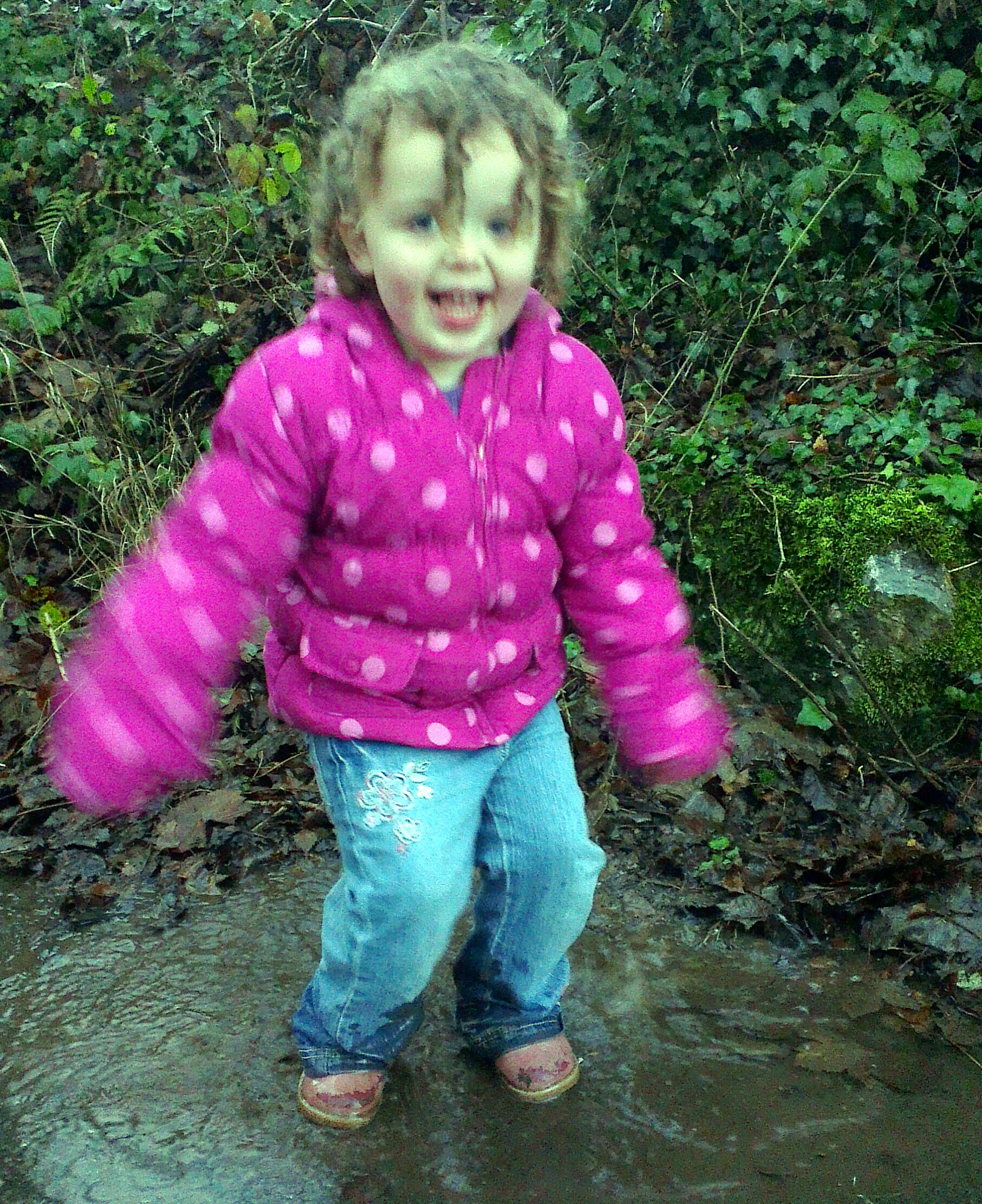 Puddle jumping with Katie
