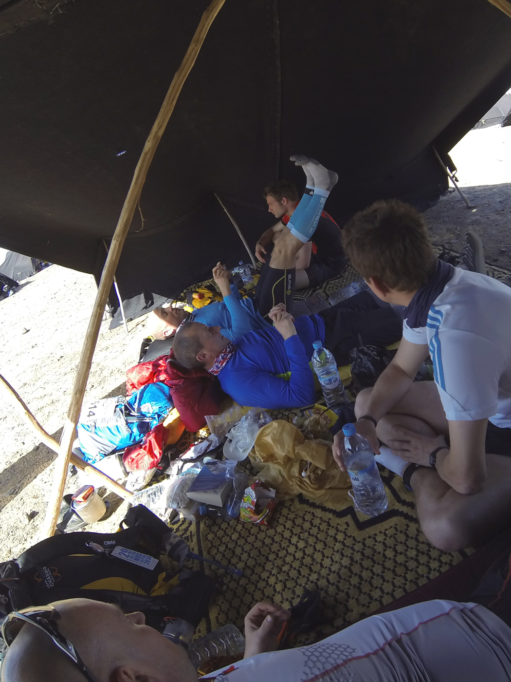 Lazing in the tent after kit checks