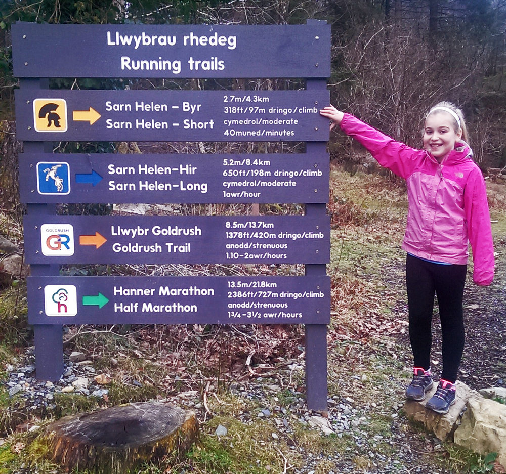 Ciara at the trailhead of the running trails at Coed y Brenin.