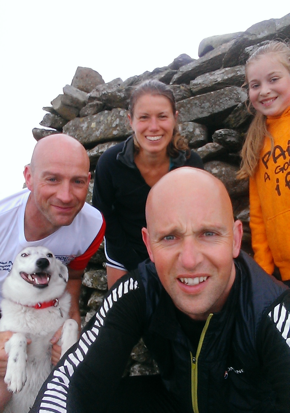 Ciara, Katie, Snooby, Phil and I pausing on a cool Foel Offrwm for a Summit Selfie