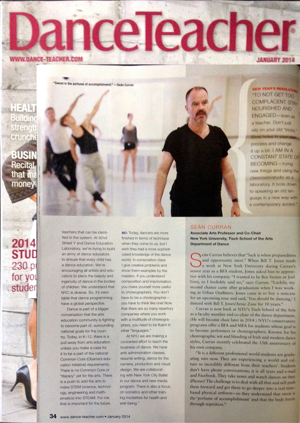 Dance Teacher Magazine, Cover Story by Rachel Berman. January 2014