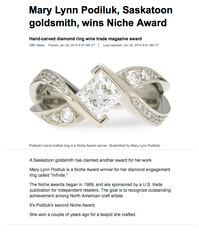 """Mary Lynn Podiluk, Saskatoon goldsmith, wins Niche Award"" .  CBC News , [Saskatoon, SK], 22 Jan. 2015. Web."