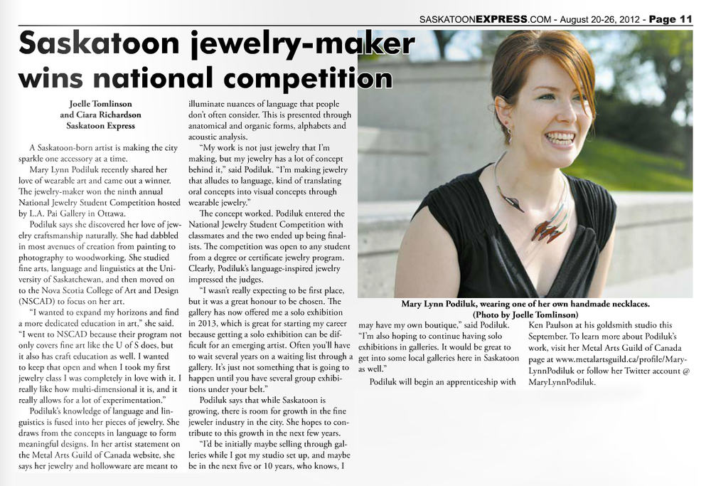 "Tomlinson, Joelle, and Ciara Richardson. ""Saskatoon jewelry-maker wins national competition.""  Saskatoon Express  [Saskatoon, SK] 20 Aug. 2012: 9. Print."