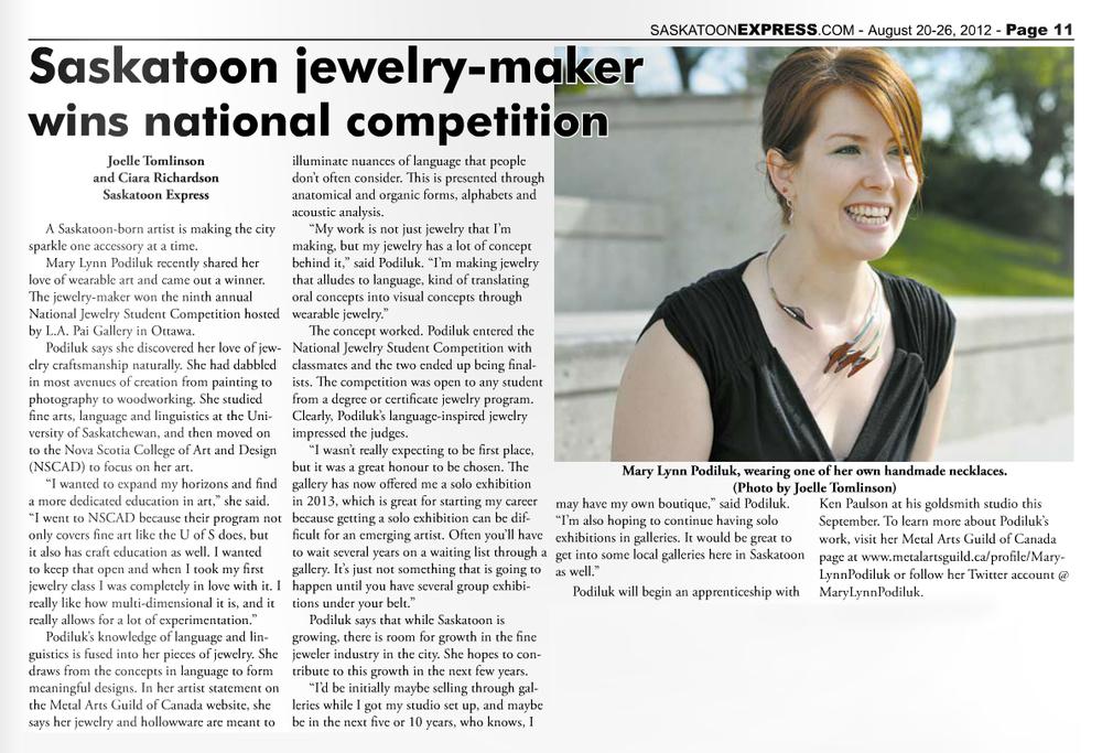 "Tomlinson, Joelle, and Ciara Richardson.""Saskatoon jewelry-maker wins national competition."" Saskatoon Express [Saskatoon, SK] 20 Aug. 2012: 9. Print."