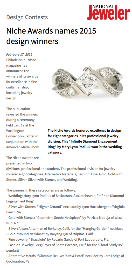 """Niche Awards names 2015 design winners"" .  National Jeweler , 17 Feb. 2015. Web."