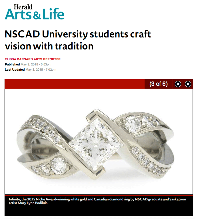 "Barnard, Elissa,  ""NSCAD University students craft vision with tradition"" .  The Chronic    le Herald  [Halifax, NS] 3 May 2015. Print."