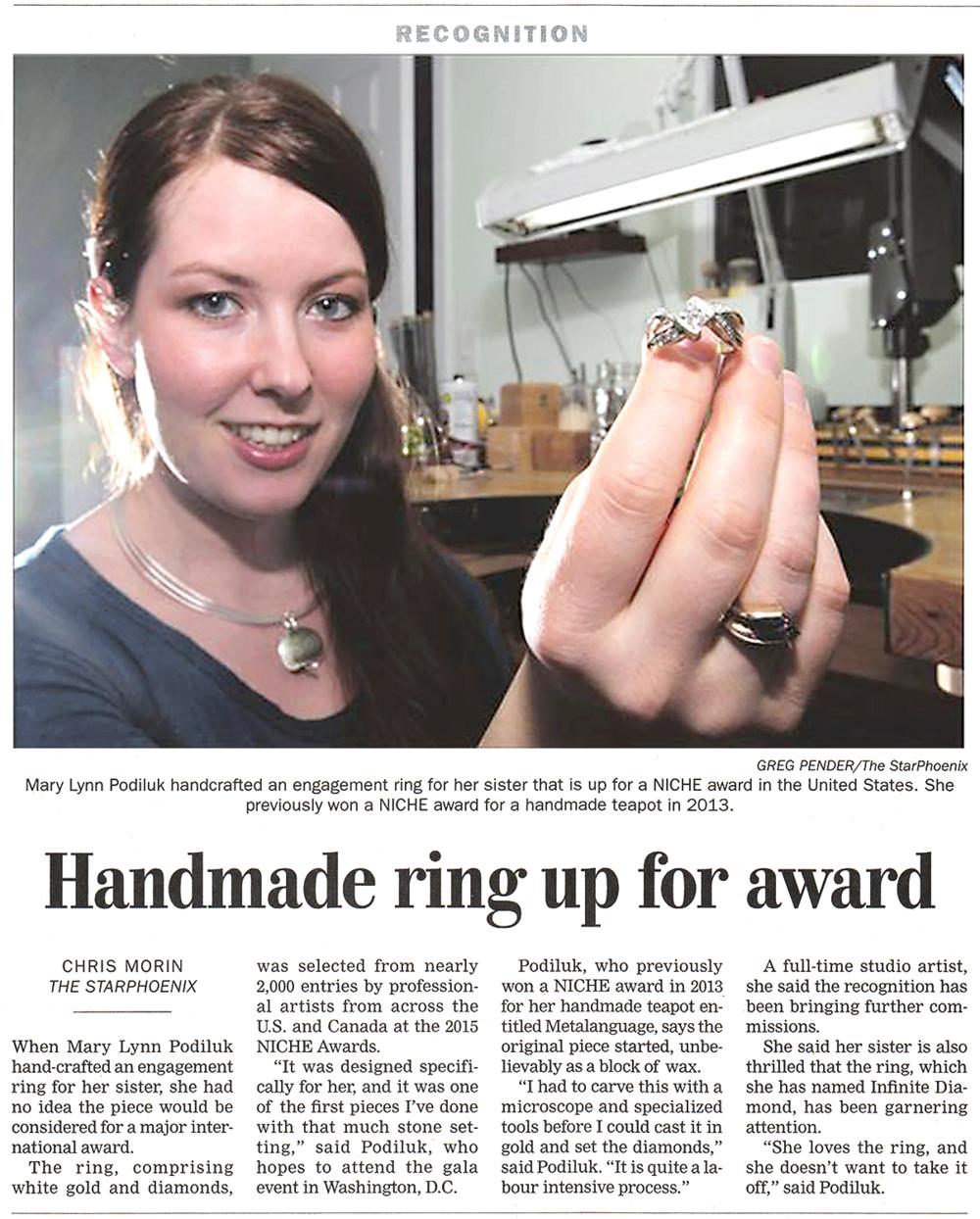 "Morin, Chris.""Hand-made ring up for award.""The StarPhoenix [Saskatoon, SK] 11 Jan. 2014: D1. Print."