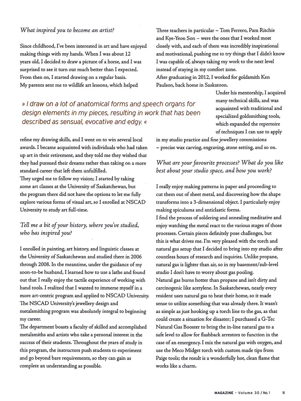 "Mary Lynn Podiluk. Interview by Tara Owen. ""In the Studio"". MAGazine: Volume 30, No. 1. 2015. 11. Print."
