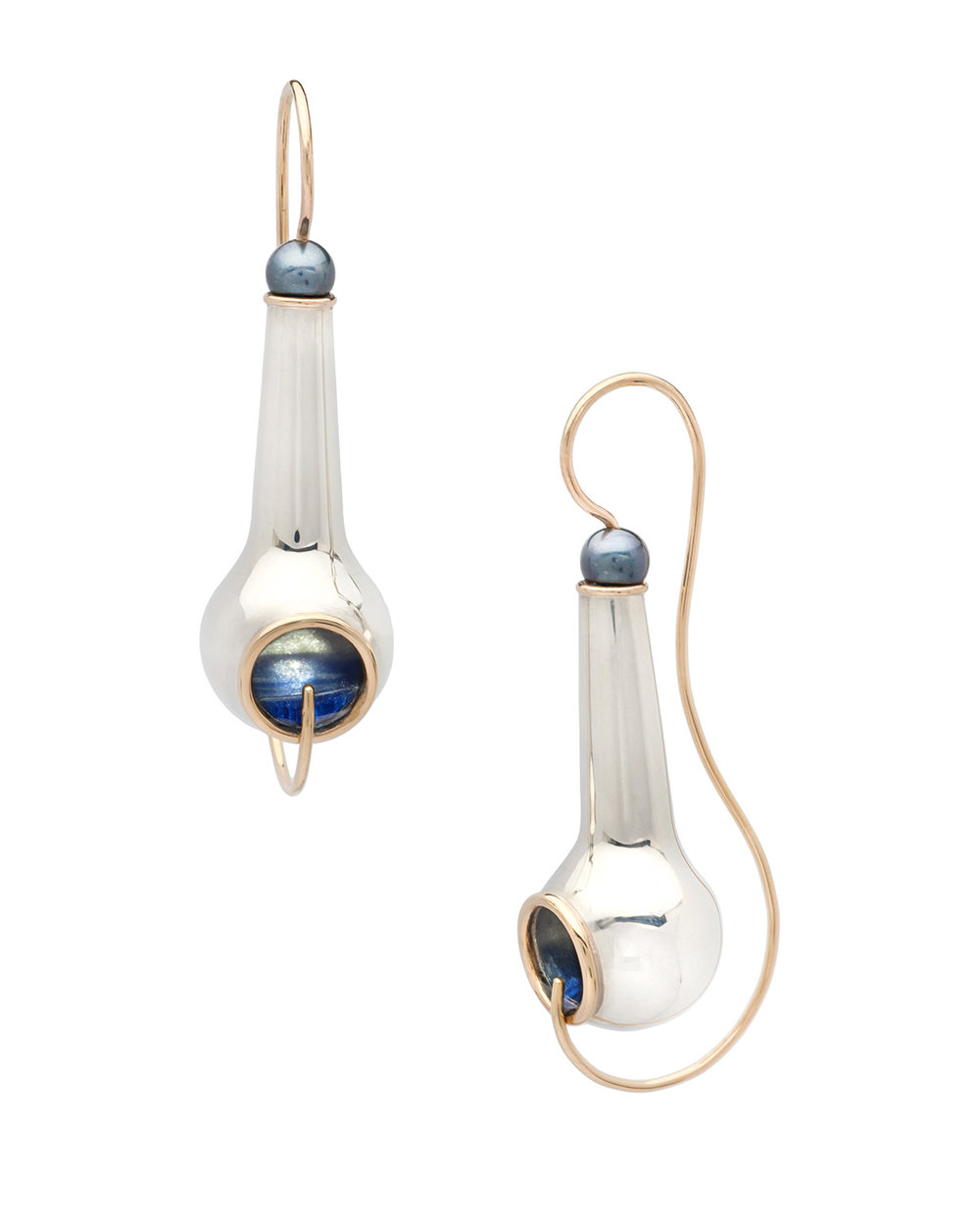 Hush - Earrings | 2016Sterling silver, 14k yellow gold, freshwater pearl, resin5.3H x 1.5W x 2D cm