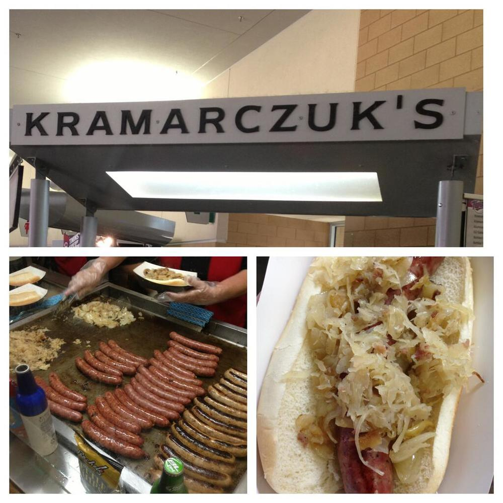 Tasty Kramarczuk's sausages.  photo credit: Elliot Cobb