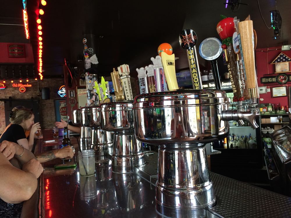 The ample tap handles at Showboat Saloon.
