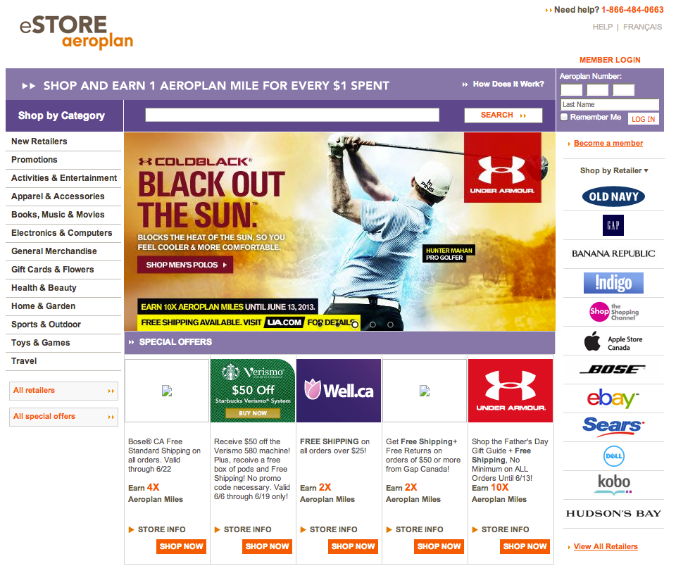 Screen Shot from eSTORE Aeroplan page