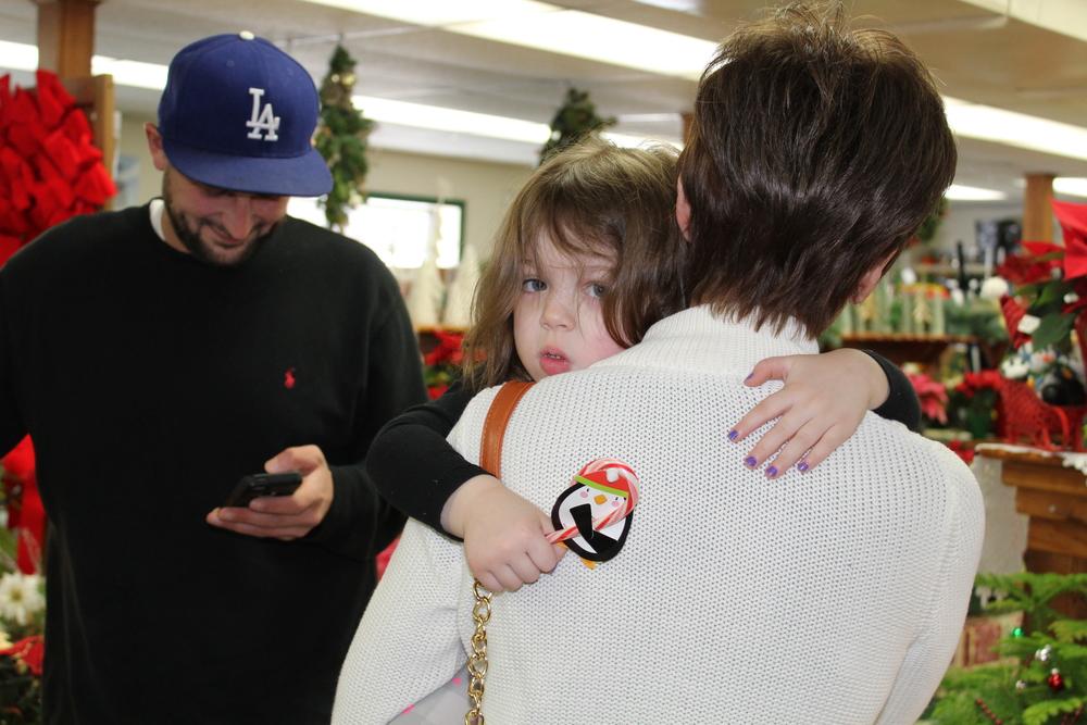 Uncle Brandon, Evie and Grandma (the shield from Santa!)