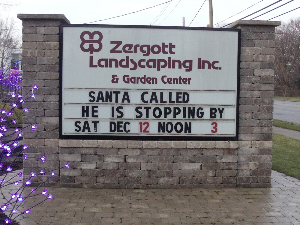 Remember Zergott Landscaping for your Christmas Tree, Wreaths, Roping and Poinsettias!