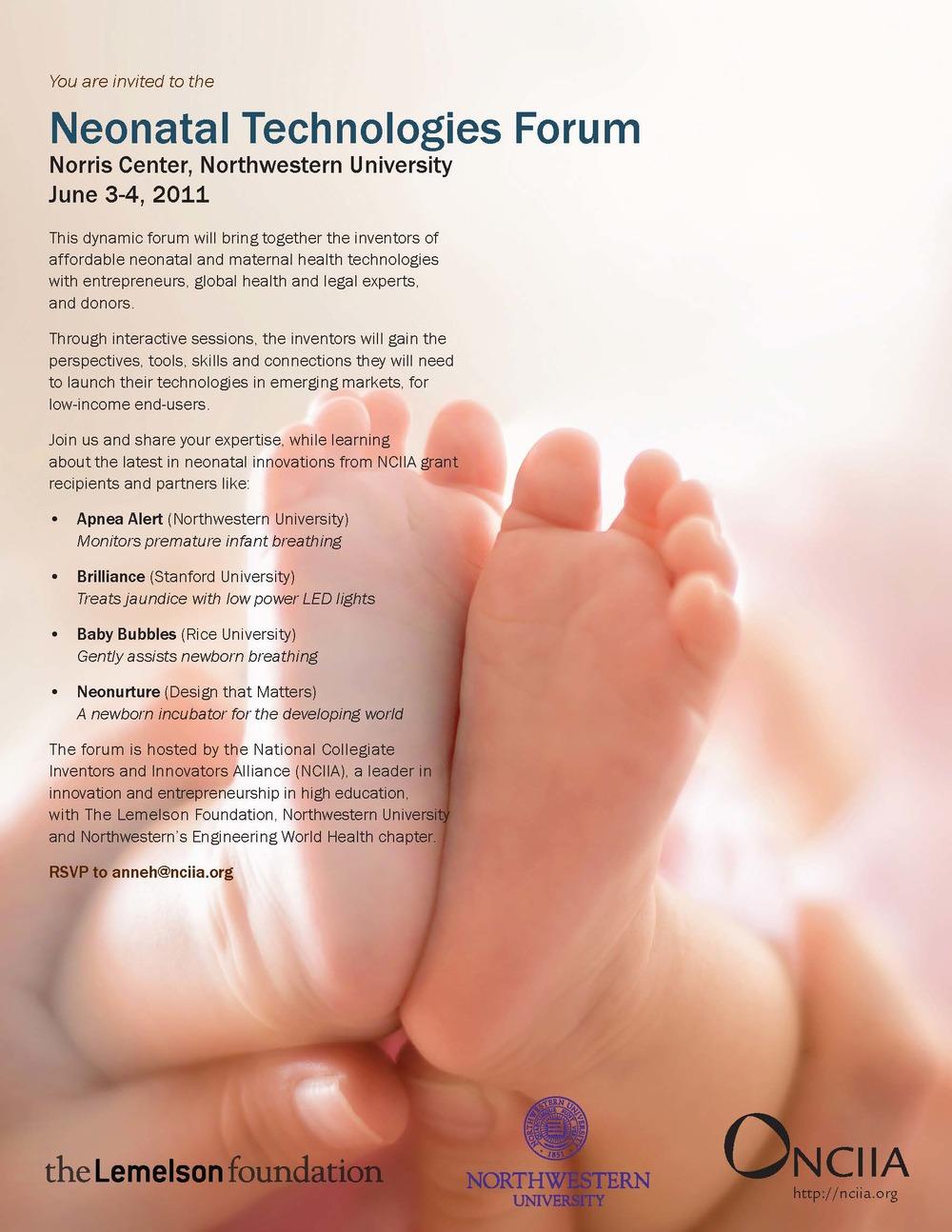 Neonatal Technologies Forum flyer
