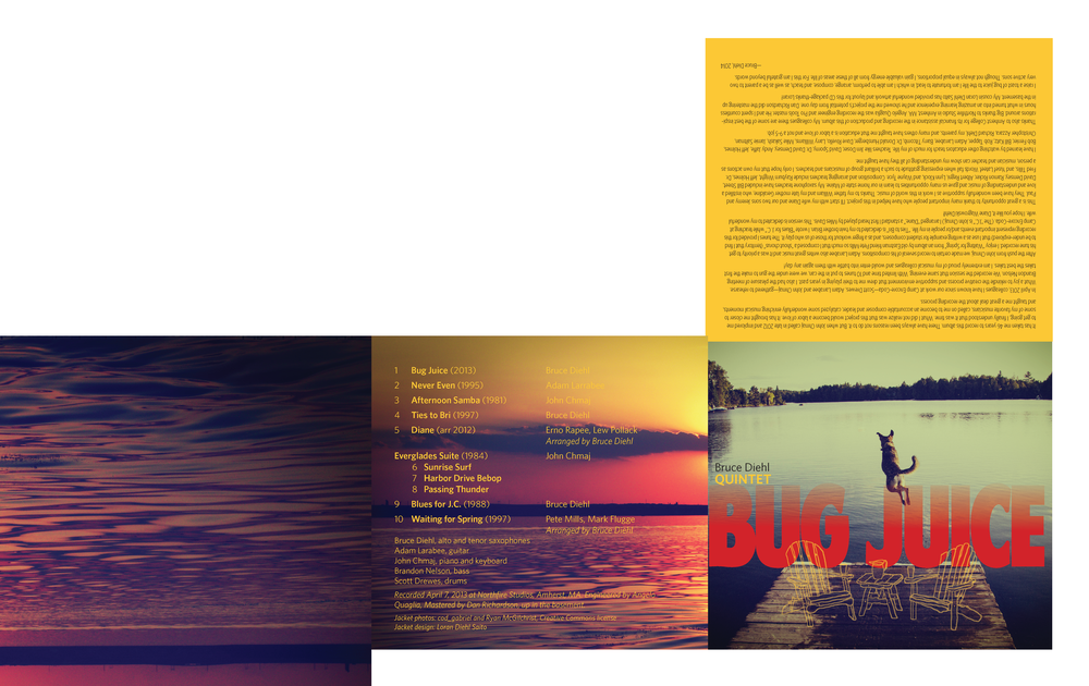 """CD Cover for Bruce Diehl Quintet """"Bug Juice"""""""