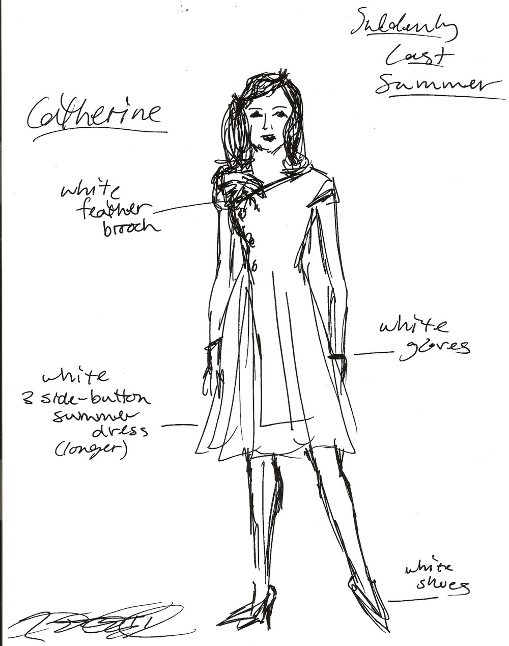 Costume Design Sketch, Suddenly Last Summer, 2001.