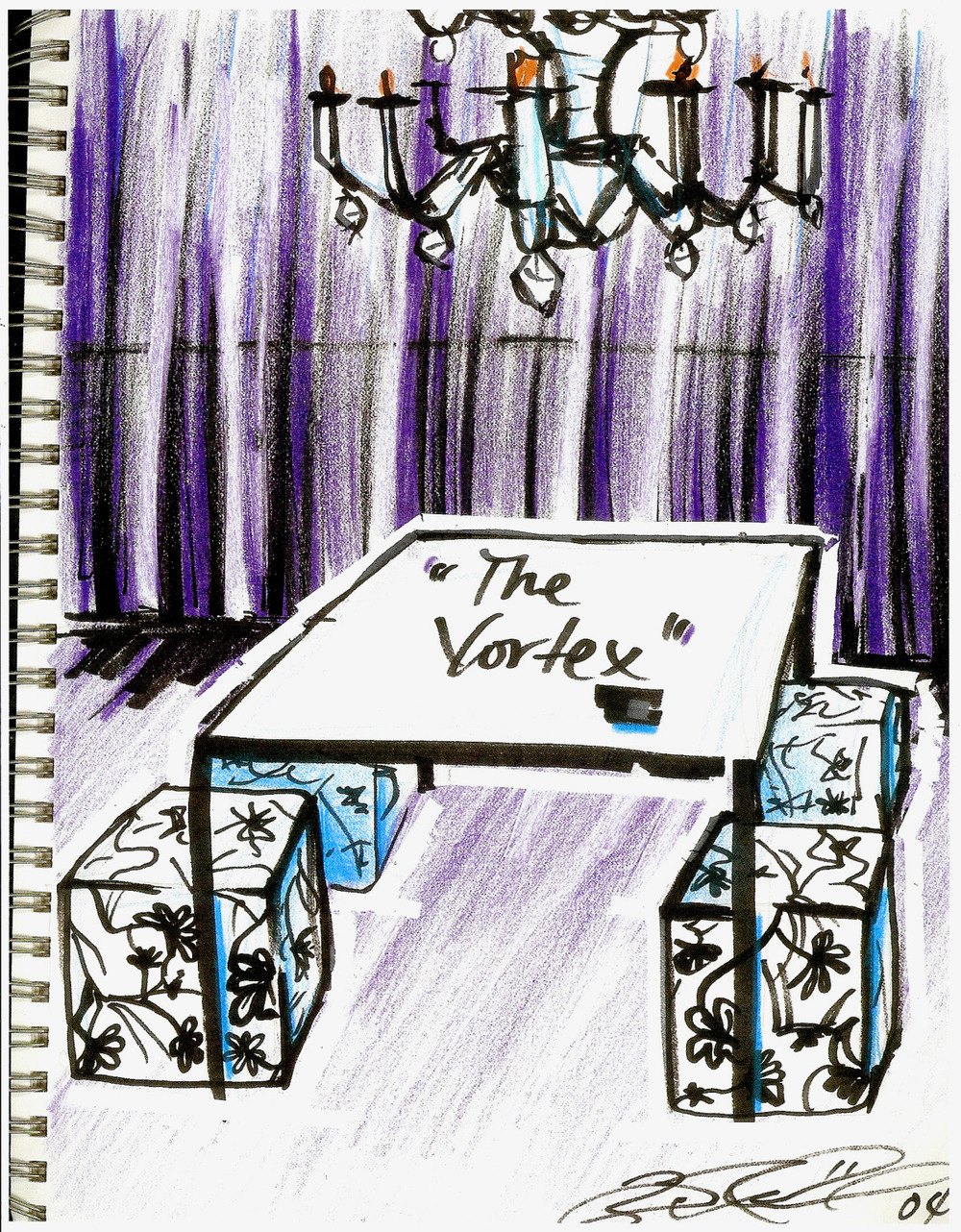 Scenic Design Sketch, The Vortex, 2004.