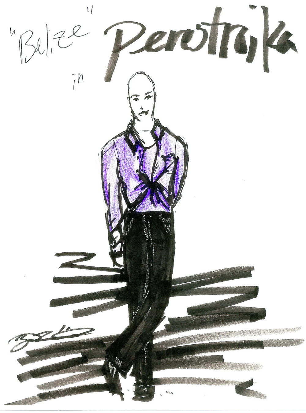Costume Design Sketch, Angels in America, 2002.