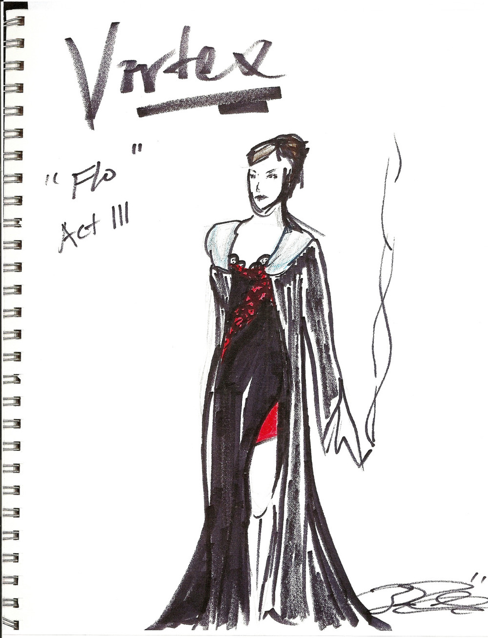Costume Design Sketch, The Vortex, 2004.