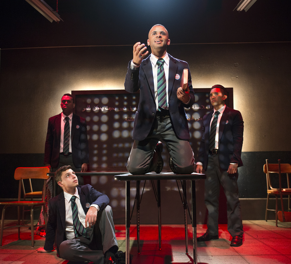 James Arthur M., Taj K. Campbell  Mike Sagun, Adam Odsess-Rubin.  Scenic Design by Yusuke Soi, Lighting Design by Christian Mejia, Costume Design by Jorge R. Hernandez, Sound Design by Stephen Abts.  Photo by Lois Tema.
