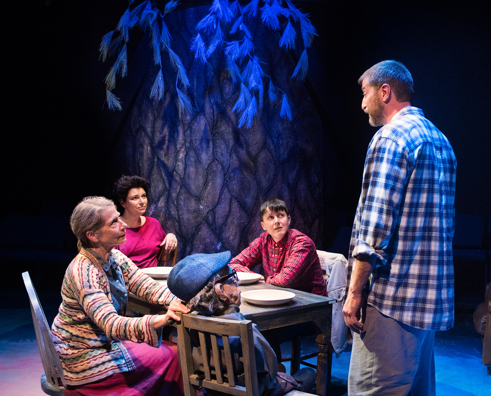 Michaela Greeley, Janis DeLucia, SK Kerastas, Andy Collins.  Scenic Design by Christian V. Mejia, Costume Design by Miriam Lewis, Lighting Design by Anthony Powers, Sound Design by James Ard, Puppet Design by Dave Haaz-Baroque, Prop Design by Adeline Smith.  Photo by Lois Tema.