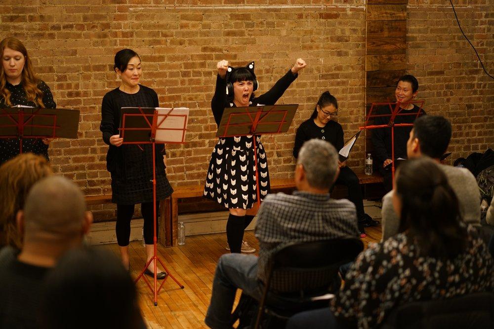 (L-R) Sarah Murdoch, Natsuko Hirano, Teresa Attridge, Sara States, Bruce Yang. (Sean Velasco-Dodge)