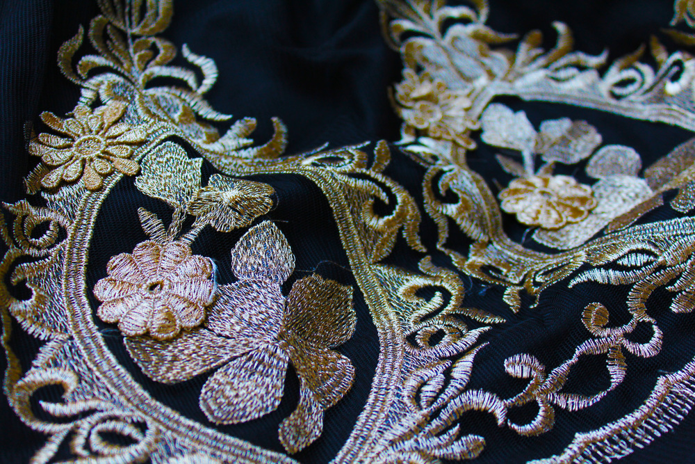 gorgeous golden embroidery reflecting in the light