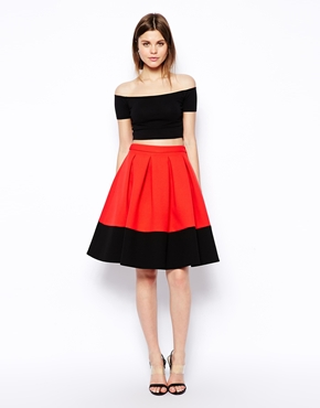 £45.00 ASOS Premium Bonded Midi Skirt In Colour Block