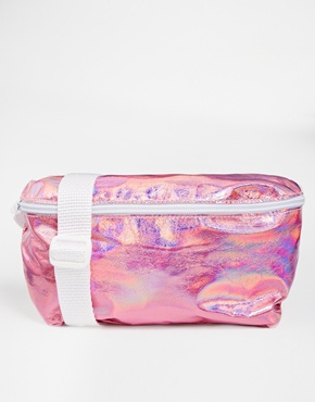 £38.00 American Apparel Leather Bum Bag in Metallic Pink