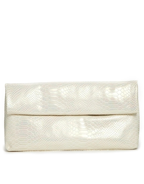 £12.99 New Look Paper Bag Clutch Bag in Pearlised Finish