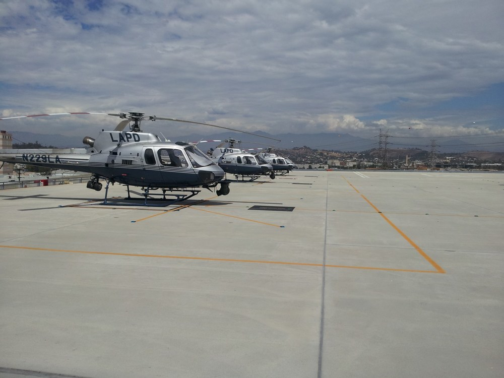 Some of LAPD's AS350B-2 A Stars lined up on the rooftop heliport, just north east of downtown LA.