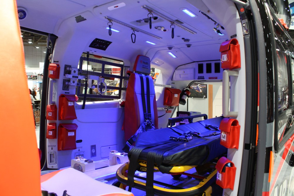 The soothing interior cabin of Cincinnati University Hospital's EC 145 medical helicopter