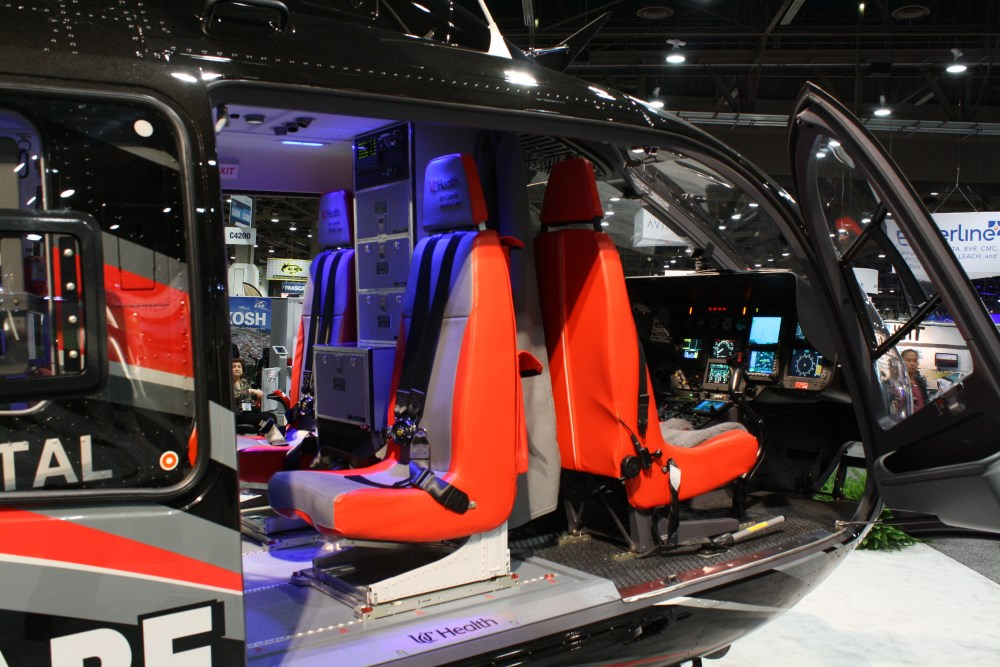A partial view of the glass cockpit and the state of the art panel