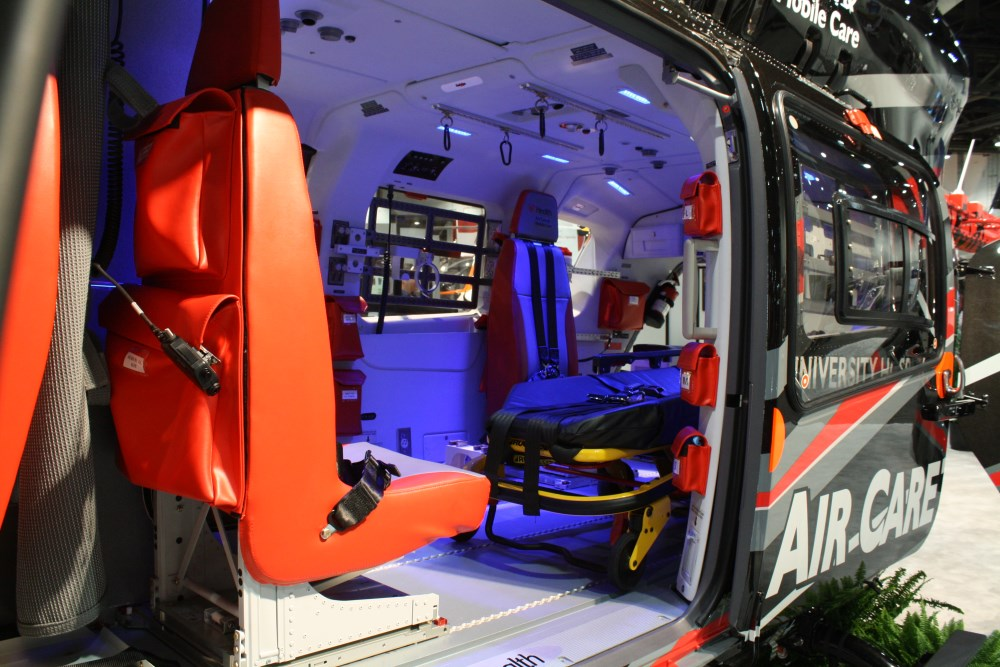 The interior of this EC 145 air ambulance seems to welcome patients with open arms.