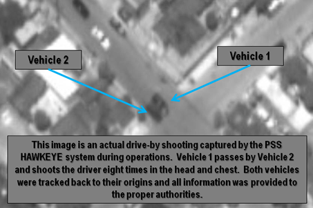 This image of a drive by shooting as it occurred, is from the Persistent Surveillance Systems website.
