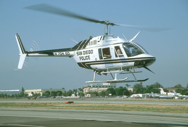 San Diego Police Air Support flew the Bell 206 Jet Ranger for many years before transitioning to the Eurocopter.