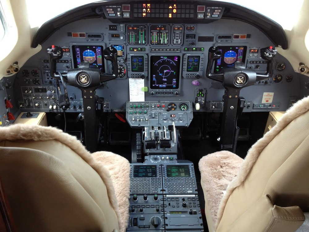 Cockpit of a Cessna Citation with glass panel instrumentation