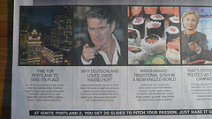"""When I opened up the Oregonian this morning, I was surprised to see that David Hasselhoff is once again newsworthy. Who knew I'd ever get David Hasselhoff on the front page of a major US newspaper? A childhood dream for every German kid, or is it? My """"Why Deutschland loves David Hasselhoff"""" presentation was among a few featured in an Oregonian story about the upcoming Ignite Portland event. The expectations for my presentation are certainly set now."""