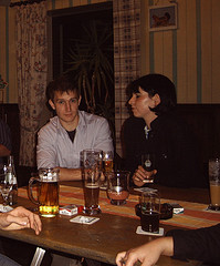 Klassenfete  Originally uploaded by themarioblog. My friend Sabrina sent me a picture taken at some class party back in Germany a few years back. Obviously, there's beer on the table. It's Germany folks. Coincidentally, I also look a lot younger. It's all fun and games, with age not really really being an issue, until one looks back at a picture that was taken only a few years ago. I am beginning to realize that I really wasn't born with a receding hair line.