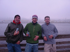 Team stupid (Intern, German, Engineer)  and two guest members (Jim, Chris) went crabbing in Newport, Oregon this weekend. Newport is on the Oregon Coast, as most crabs can be found in the ocean. Once we arrived in Newport, we went to a local sporting goods store and studied up on the sport of crabbing. We were under the impression that we we'd have to rent a boat and paddle out on the open ocean, but apparently there were plenty of crabs to be caught just off the pier. Or so we thought... Equipped with three crabbing rings, a couple of dead minks, half a dozen of salmon heads and 48 cans of Coors Light (you have to stay hydrated); our athletic journey began at about 3pm. Ten hours later, here's what had happened: I had the biggest catch of the day. It was a sea-star. Chris actually partook in an even bigger catch, as he helped a local fisherman get a seagull off his fishing line. Technically, that one didn't count.  We caught about ten crabs of which one was big enough to eat. One of the locals had pity on us and gave us a monster dungeness crab. That one counted as mine.  Especially, since Patrick lost my crab ring on the last toss of the day.  Now I'll have to use one of the scars on my finger as a reminder to tell my crazy crab stories to people. We bought a big pot to cook the crabs at our campground.  The crabs were minuscule (with the exception of the monster dungeness crab I caught...see above) and they probably would have tasted better if we had butter and garlic. Good thing we went out for pizza before setting up camp. Gotta love the great outdoors. Oh, and we left the pot with the uneaten crabs next to our campfire. Bad idea, as our tent side was infested with crows by 7am. I had no idea how much noise a few dozen crows can make.  Anyway, it was a great time. Check out my flickr account for more pictures of crabs, seagulls, dead minks and the intern.