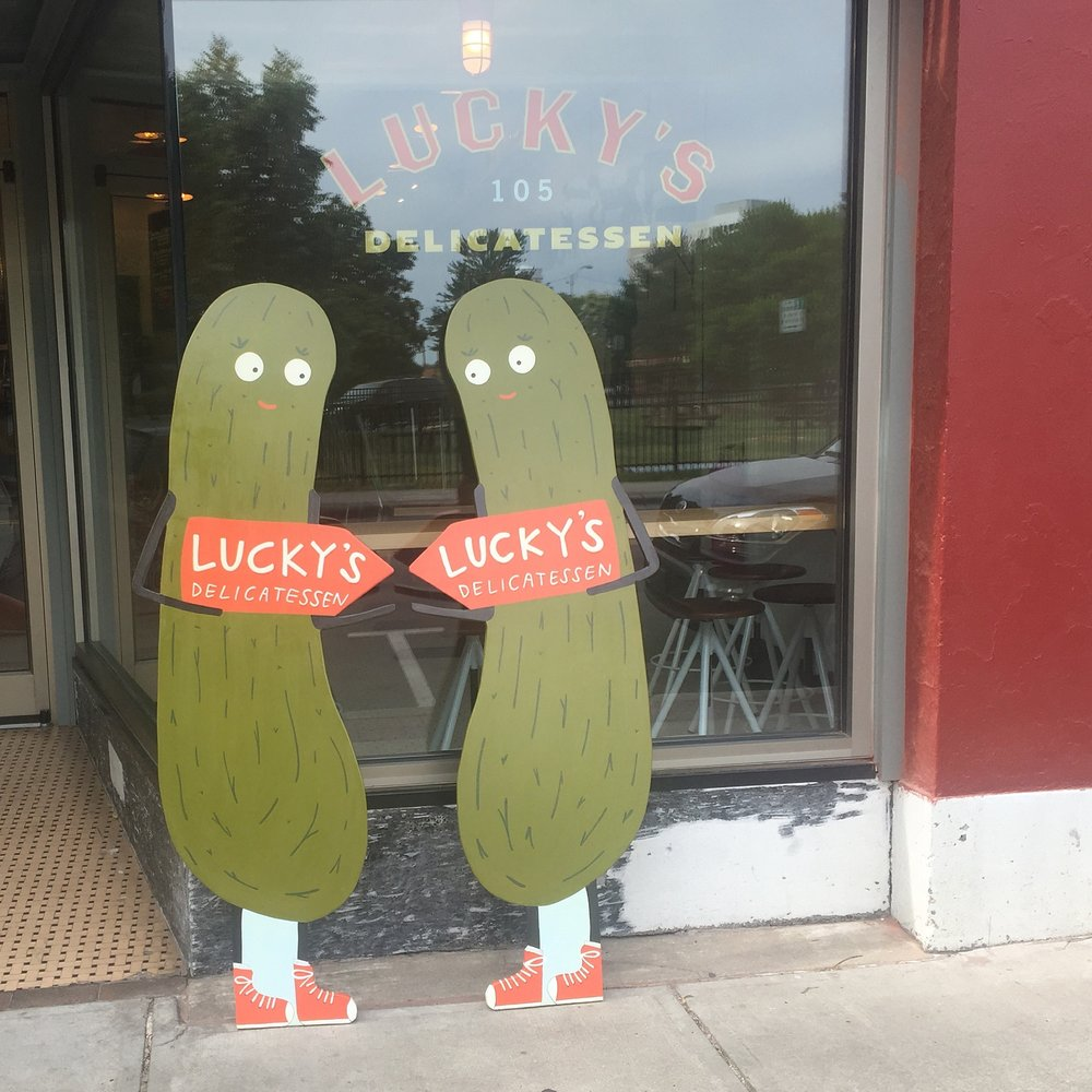 Pickle street signs for  Lucky's Delicatessen  (before assembled).