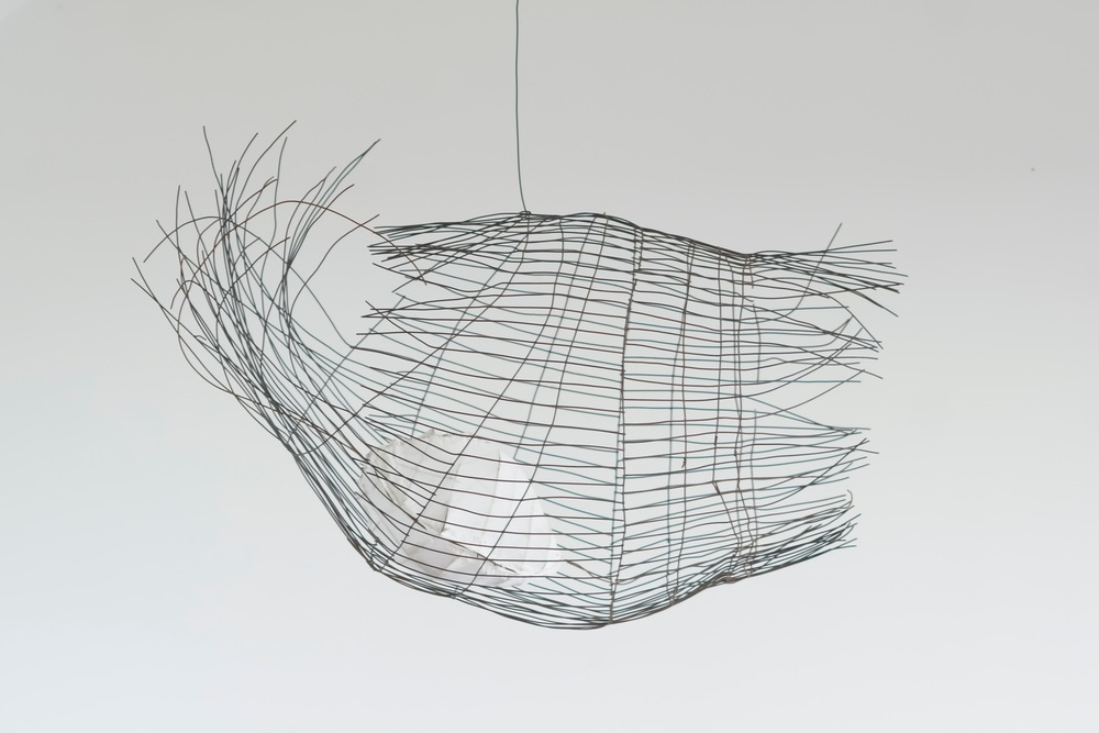 "Floating Cage,   2013  Steel, Fabric, Wood, Paint, 30"" x 22.5"" x 12.5"""
