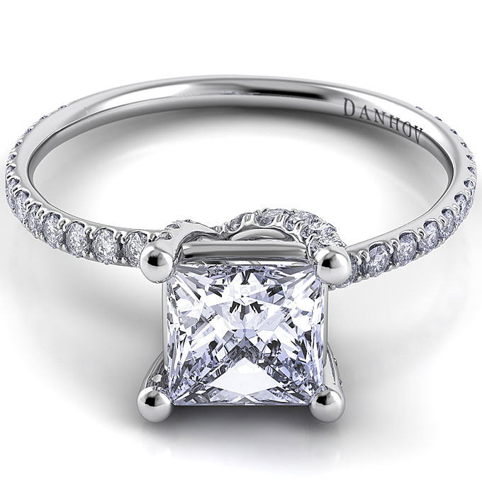 Style ZE102-PR, platinum and diamond engagement ring with princess-cut center stone, $3,760 (without center stone),Danhov