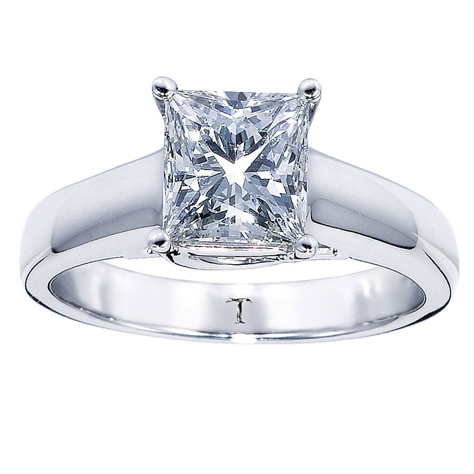 Style 161254103, 14k white gold engagement ring with princess-cut diamond center stone, $15,999, Tolkowsky, available atKay Jewelers