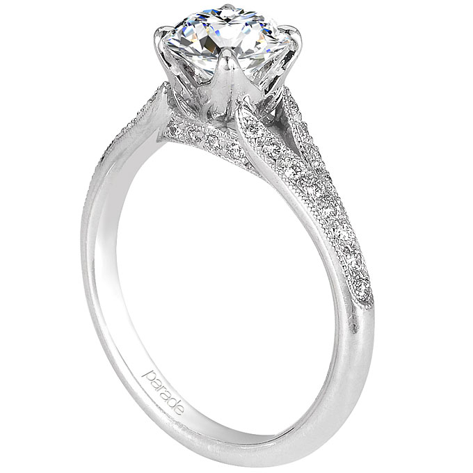 18k white gold Lyria Signature Crown engagement ring with round-cut center stone, $1,850 (without center stone),Parade Design