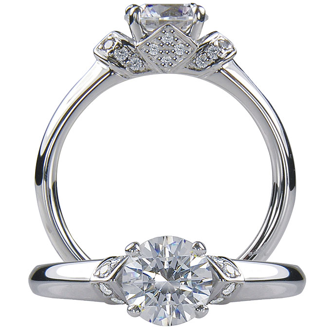 Style 1R4408, platinum and diamond engagement ring with a prong set round-cut diamond center stone, from $1,520 (without center stone),Ritani for Forevermark