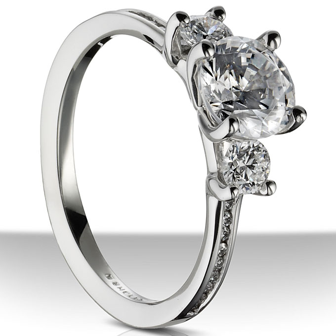 Style R519-1D, 18k white gold engagement ring with round-cut diamond center stone and round-cut side stones, $1,70 (without center stone),Sholdt
