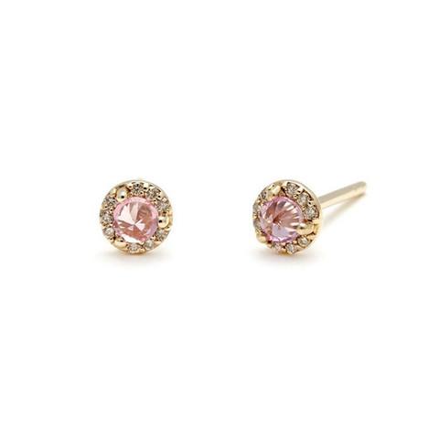 Rosette Studs (Tiny) - Pink Tourmaline & Champagne $975.00